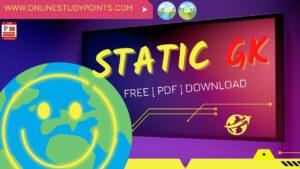 Static GK Capsule PDF free Download